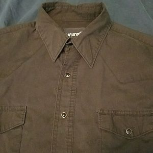 Wrangler Shirts - Black Wrangler Snap Button Western shirt-L